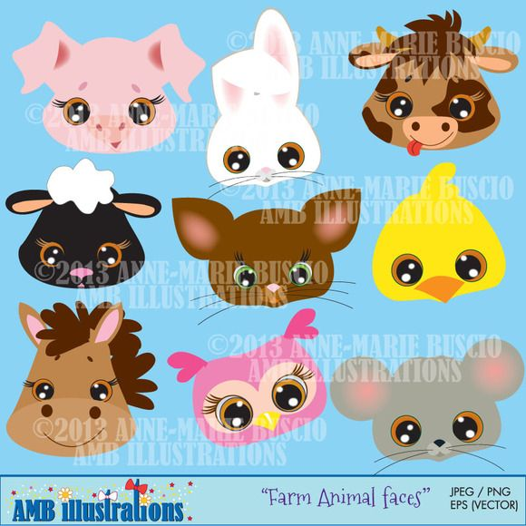 Farm Animal Faces Clipart Amb 272 Farm Animal Party Animal Faces Animal Toy Design