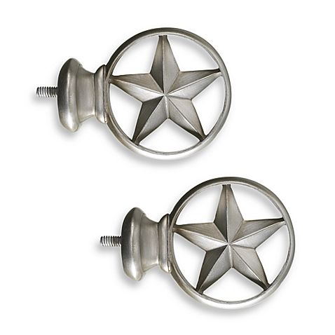 Cambria Complete Brushed Nickel Texas Star Finials Set Of 2