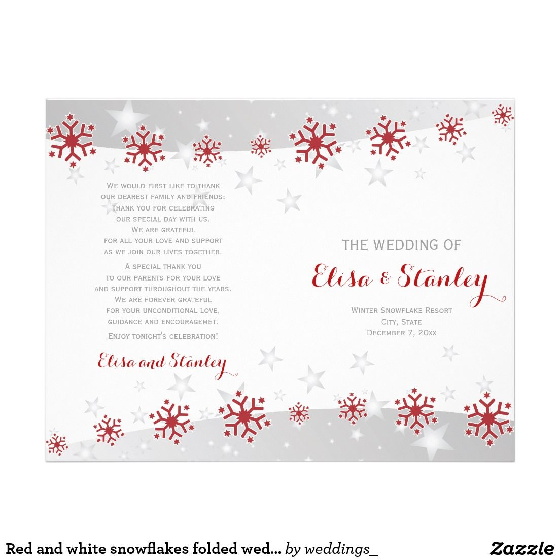 Elegant red and white snowflakes and stars silver grey folded #wedding ceremony and party #program