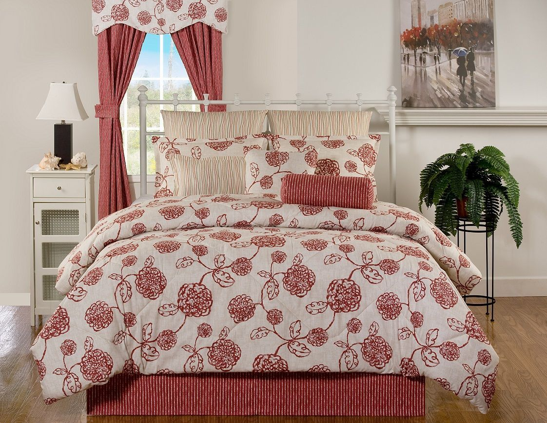 Cannes Spirited Floral Of Red And Pale Wheat Comforters And Bedspreads By Victor Mill