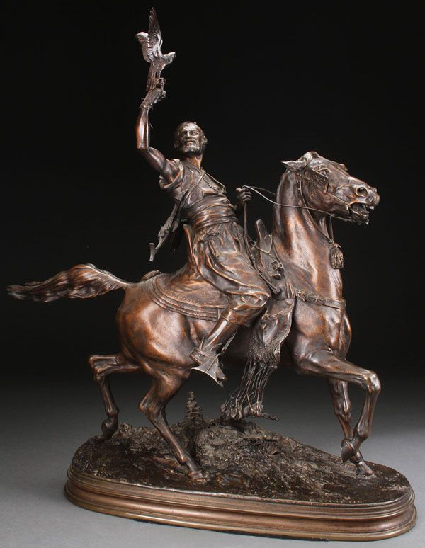 "After PIERRE JULES MENE (French 1810-1879) Falconer -circa 1900 Bronze with dark brown patina Inscribed on base ""P.J. MENE."""