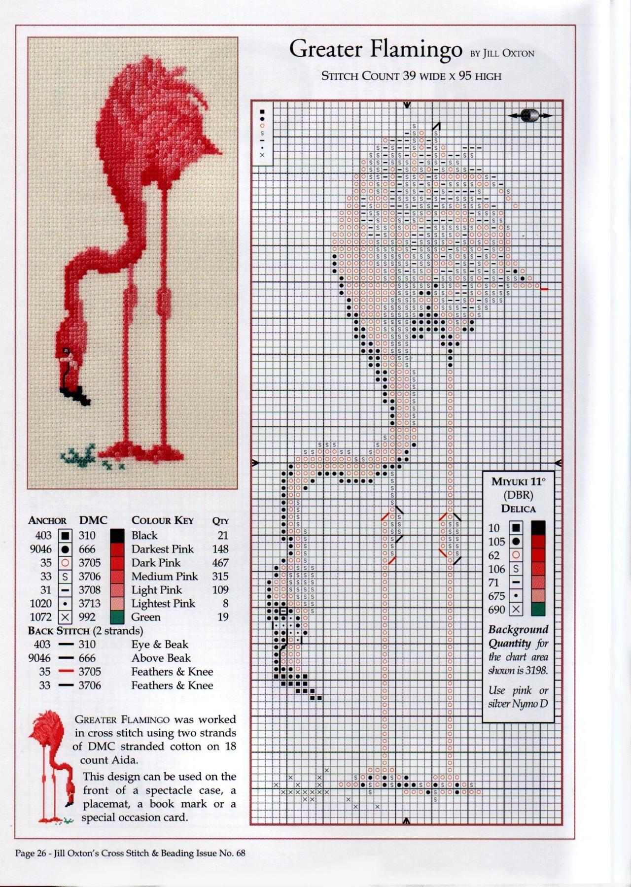 Free flamingo cross stitch pattern!!
