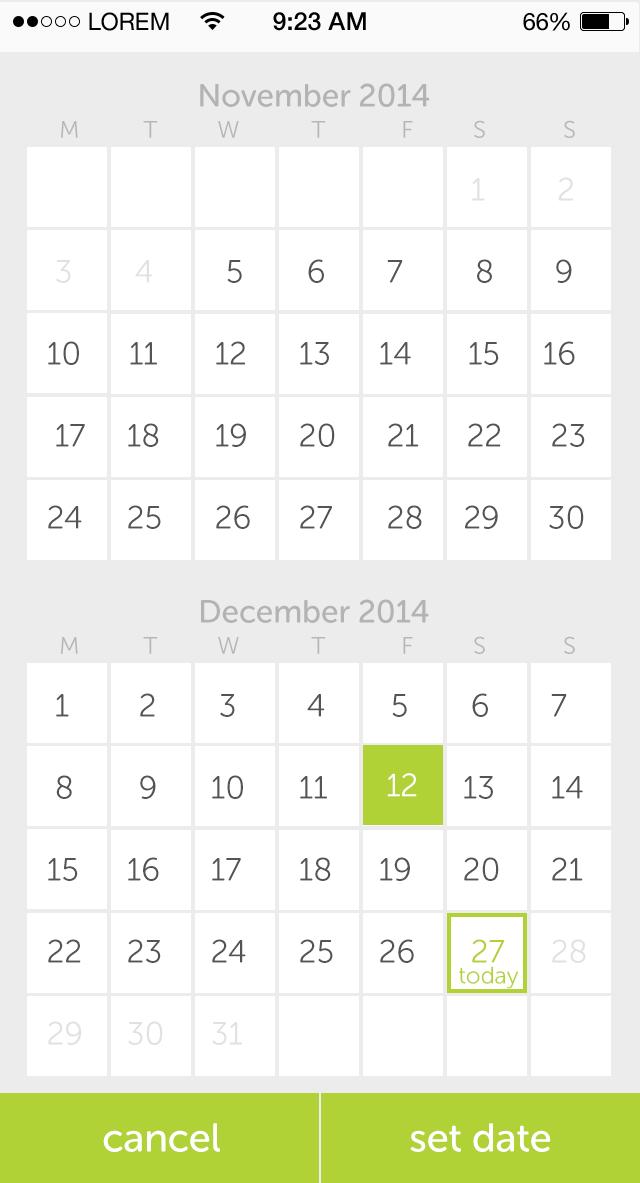 Calendar Date Picker iOS UI, UX second date is selected | UI