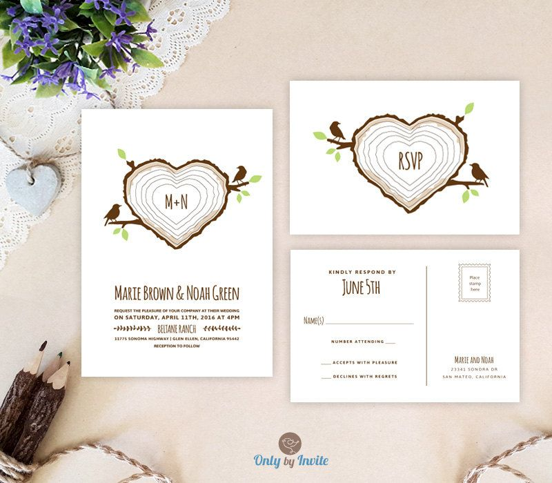 Heart wedding invitations printed on premium cardstock | Love bird ...