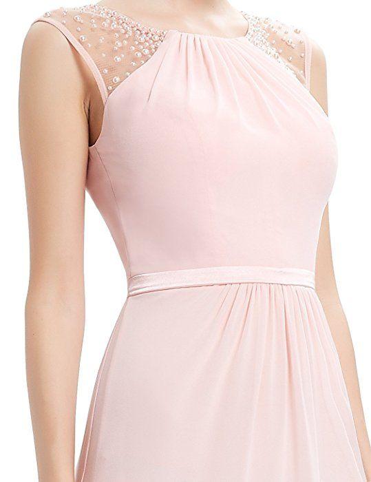 Ever Pretty Damen Elegant Ärmellos Perlen Lang Abendkleider Maxikleider  Größe 40 Rosa