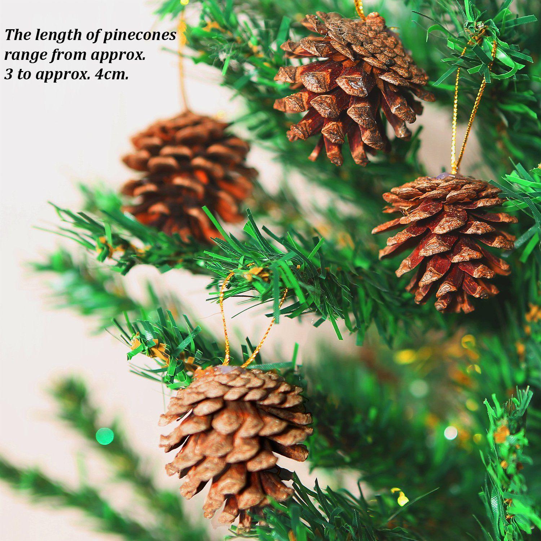 Coobey 27 Pieces Mini Pine Cones Christmas Pinecones Natural Hanging Ornament 34cm Pine Cones Pendant Hanging Ornaments Christmas Ornament Sets Mini Pine Cones