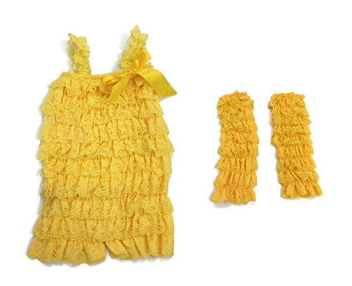 Rush Dance Baby Toddler Girls Layered Lace Ruffle Petti Romper  Leg Warmers Set Medium 918M Yellow *** Click image to review more details.