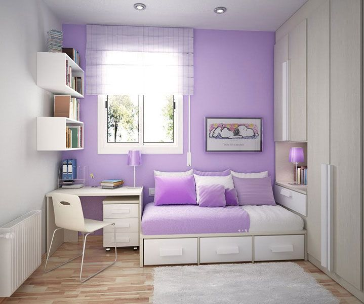 cool design teen room with violet sofa beds - Violet Teen Room Interior