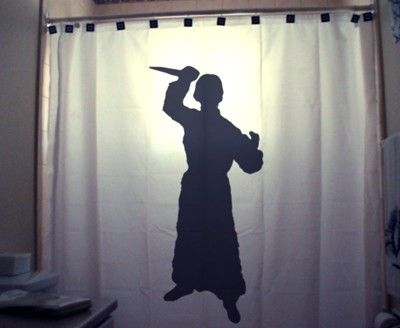 Psycho knife killer halloween shower curtain funny shower for Psycho shower curtain and bath mat