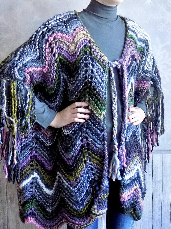 Hand knitted bohemian poncho for women with sleeves ...