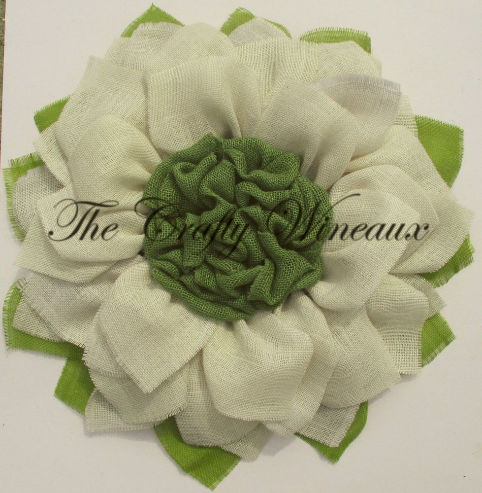 Large 28 30 Burlap Daffodil White Flower With Sage Green Center