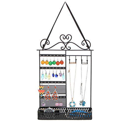 Black Metal Scrollwork Design Hanging Jewelry Display Rac