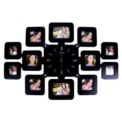 LGI Family Time Contemporary Decorative Family Picture Frame Clock - Glass Frame