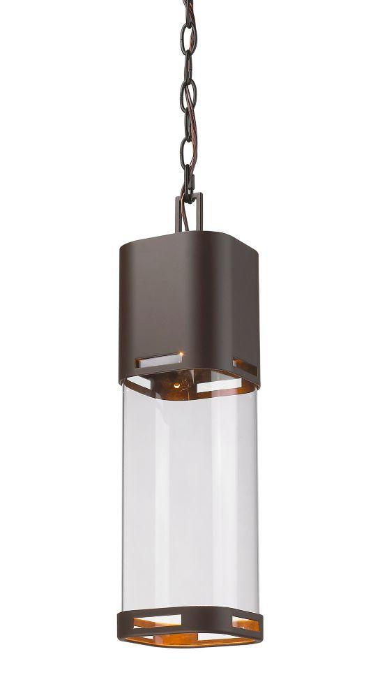 1 Light Deep Bronze Outdoor Pendant With Clear Glass 5 Inch Outdoor Pendant Lighting Outdoor Pendant Pendant Light
