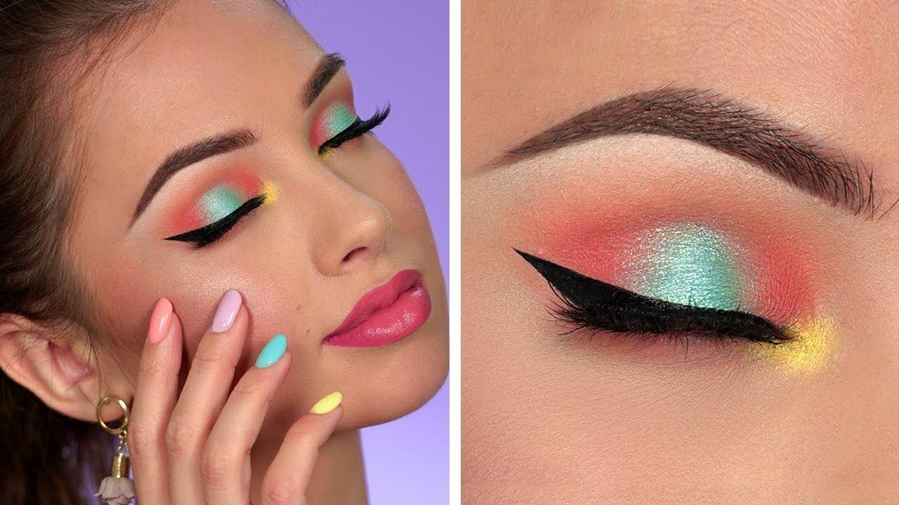 Bright Summer Makeup Tutorial Colorful Smokey Eye
