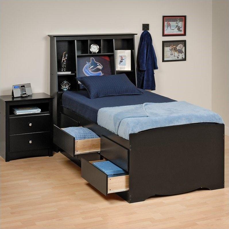 Prepac Sonoma Black Tall Twin Platform Storage Bed Twin Bedroom
