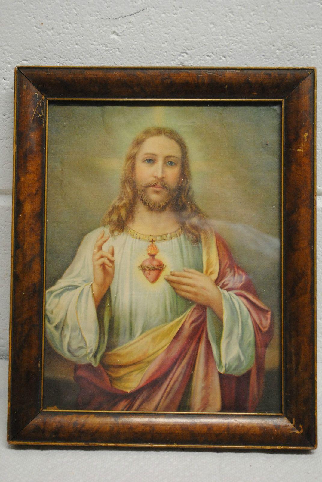 Vintage Sacred Heart Of Jesus Framed Print Ebay Vintage