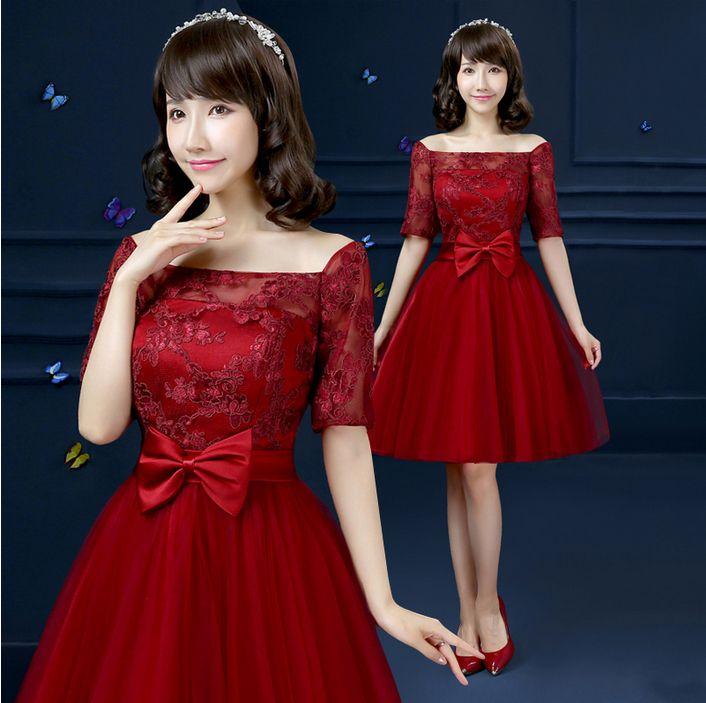 465759afb27d Pageant ocasión especial rojo oscuro corto de encaje moderno dama de ...