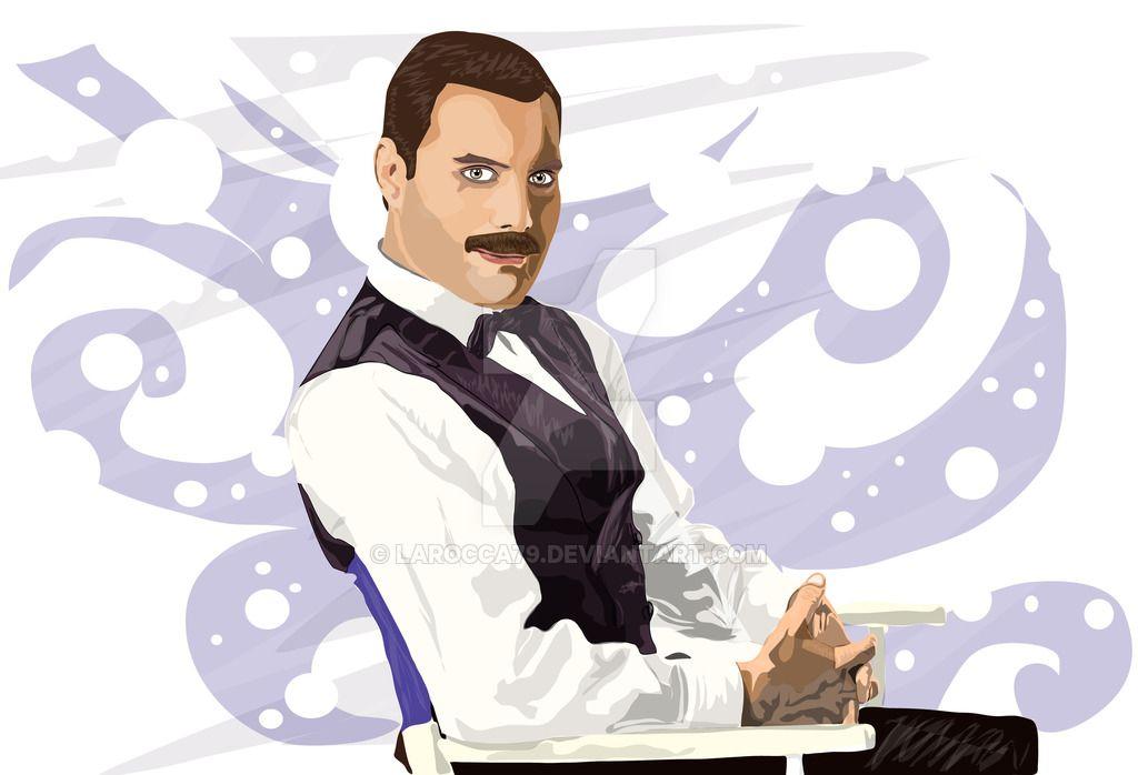 Vector Art  Freddie Mercury Vector drawing dedicated to Freddie Mercury, you can now find it on DeviantArt http://larocca79.deviantart.com/art/Freddie-Mercury-605087963 Stay tuned to the blog www.angelolarocca.it #freddiemercury #musica #miusic #mercury #queen #singer