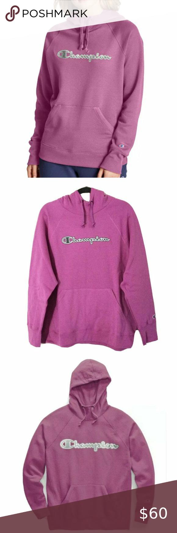 Champion Powerblend Fleece Logo Hoodie Pink Sz 2xl In 2021 Hoodies Hoodie 2xl Grey Sweater Hoodie [ 1740 x 580 Pixel ]