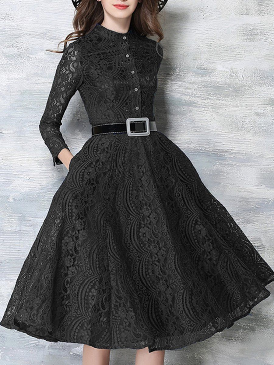 da14762d96 Band Collar Lace Hollow Out Maxi Dress  maxidress  maxidressesgorgeous   maxidressessummer  dresses