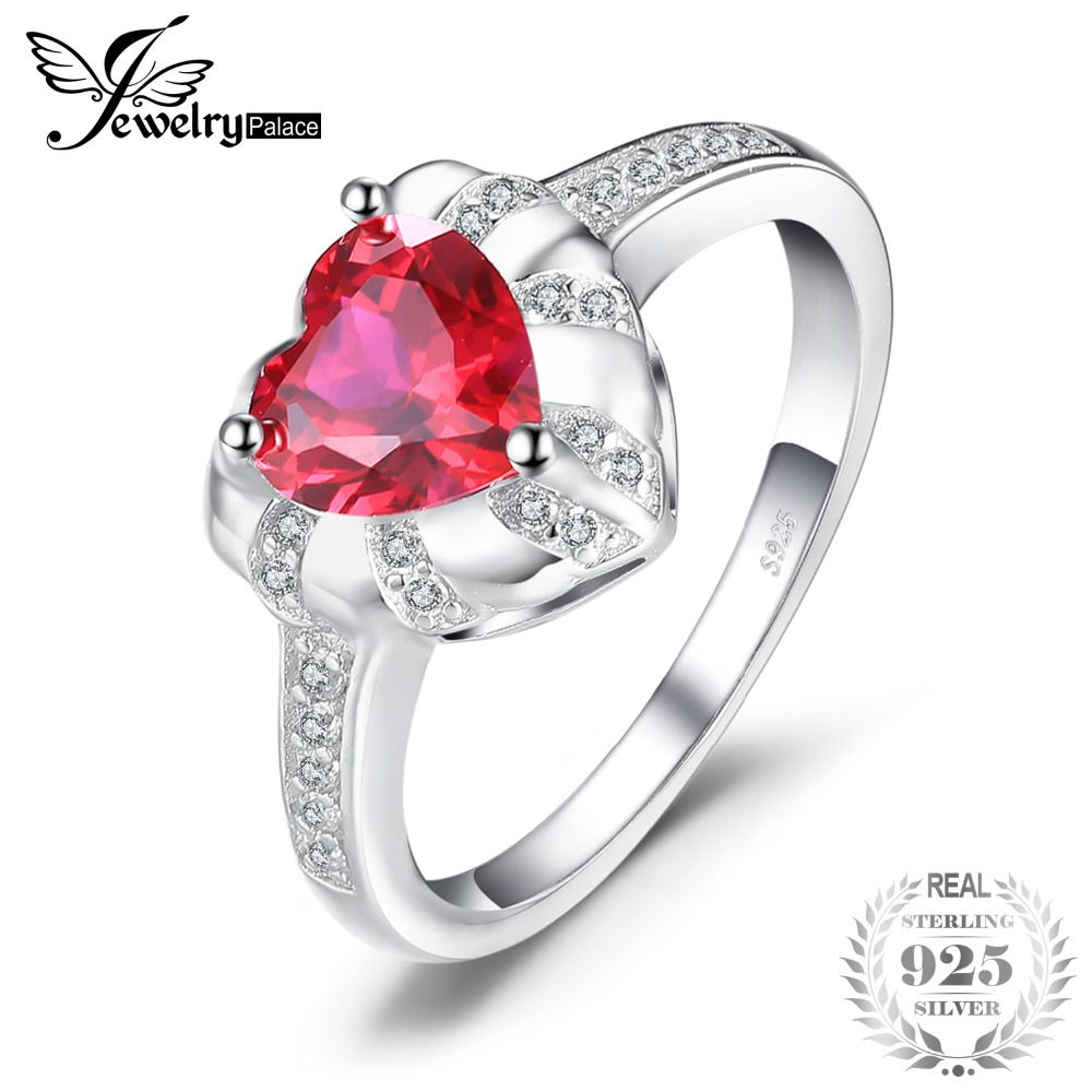 Love heart ct created red ruby engagement rings for women charms