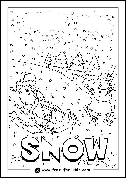 Image of snowy day colouring page homeschooling for Coloring pages weather