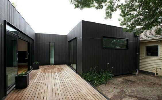 black vincent timber clad houses | Black Weatherboard House and Decking Extension | House ...