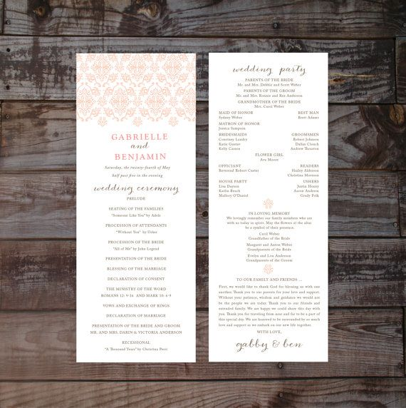 Pin By Debbie Silva On Wedding Program & Itinerary Ideas