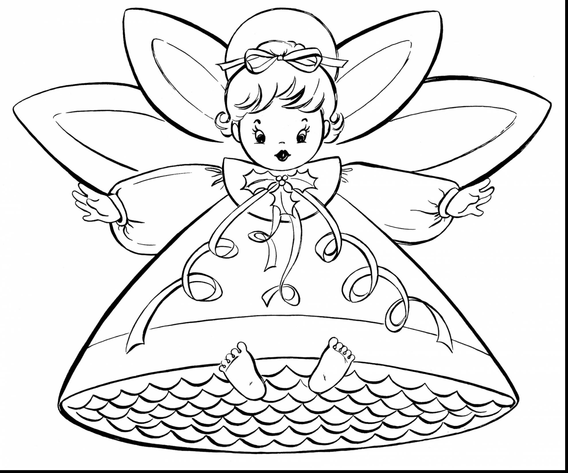 fabulous christmas fairy coloring page with christmas coloring pages ...