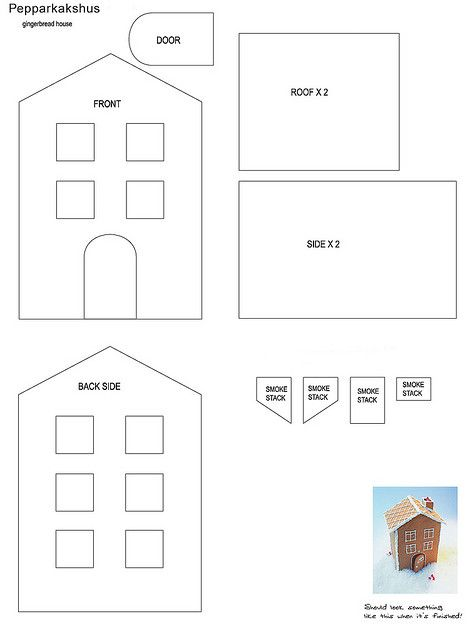 gingerbread house pattern #gingerbreadhousetemplate