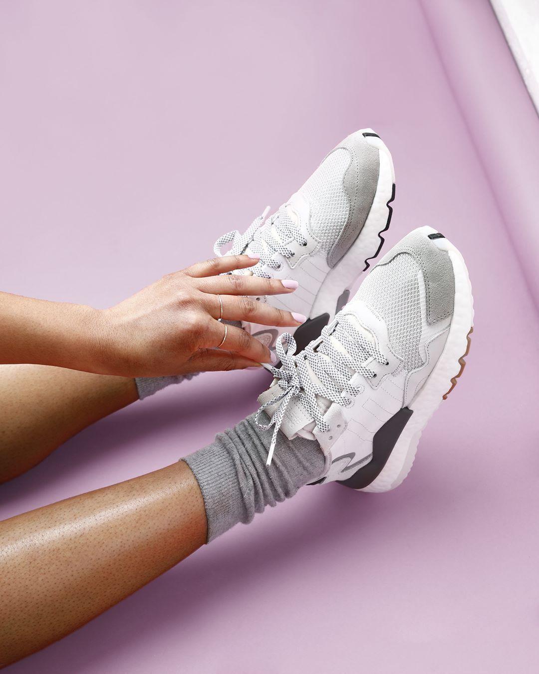 The white adidas Originals Nite Joggers are so pretty, that