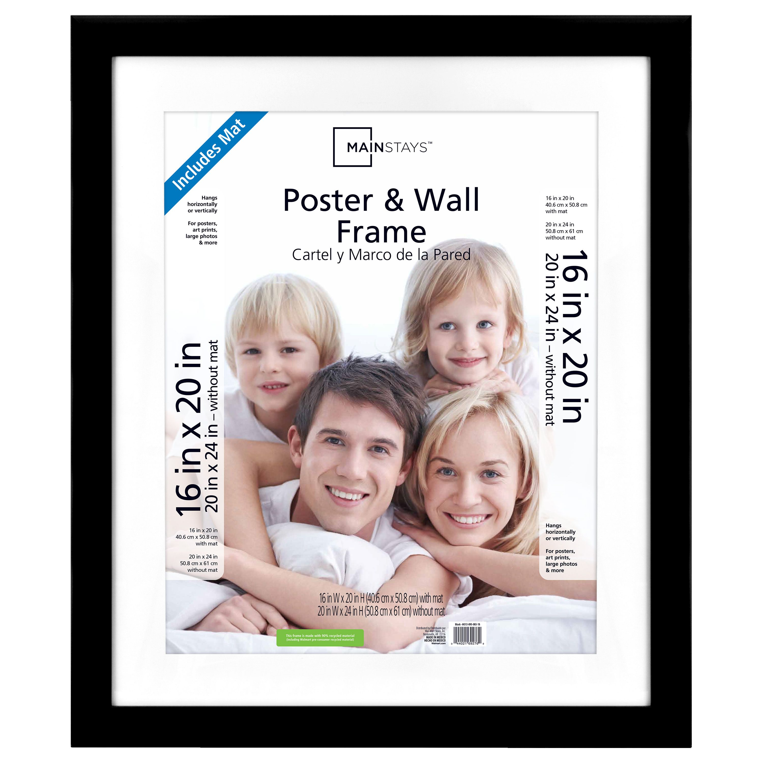 Mainstays 20 X 24 Matted To 16 X 20 Wide Black Poster And Picture Frame Walmart Com Frame Picture Frames Frames On Wall
