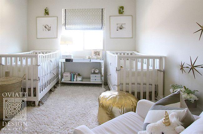 Gender neutral twin nursery with a white, gray an… | Neutral Nursery ...