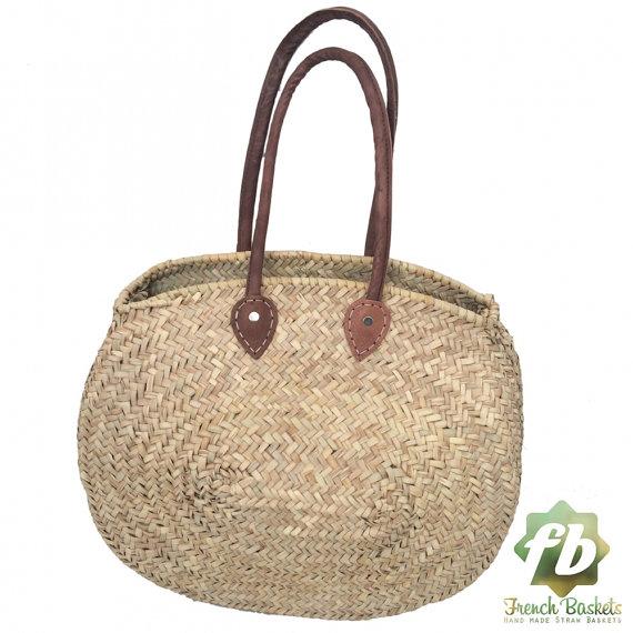 Natuurlijke mand ovale, Frans mand, Marokkaanse mand, stro tas, Franse markt mand, strandtas, stro tas