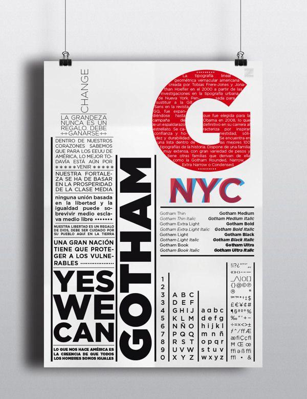 Espécimen tipográfico - Gotham by Joshua Zaporta a k a JZ