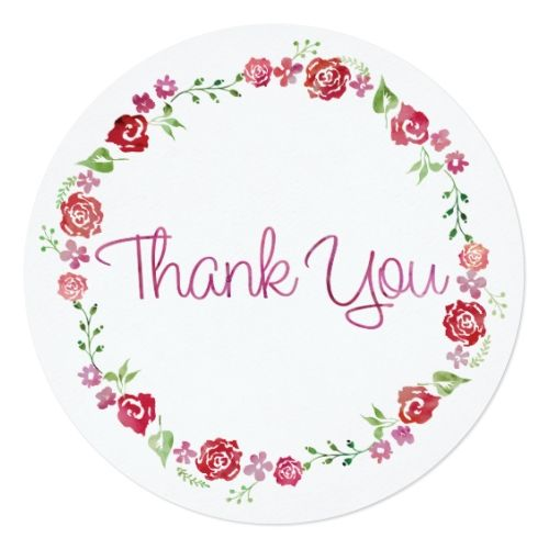 Floral Wreath With Roses - Round Thank You Card