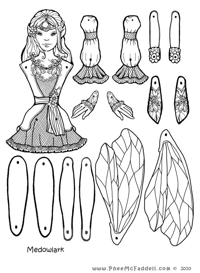 Meadowlark Fairy Puppet To Color Cut Out Assemble