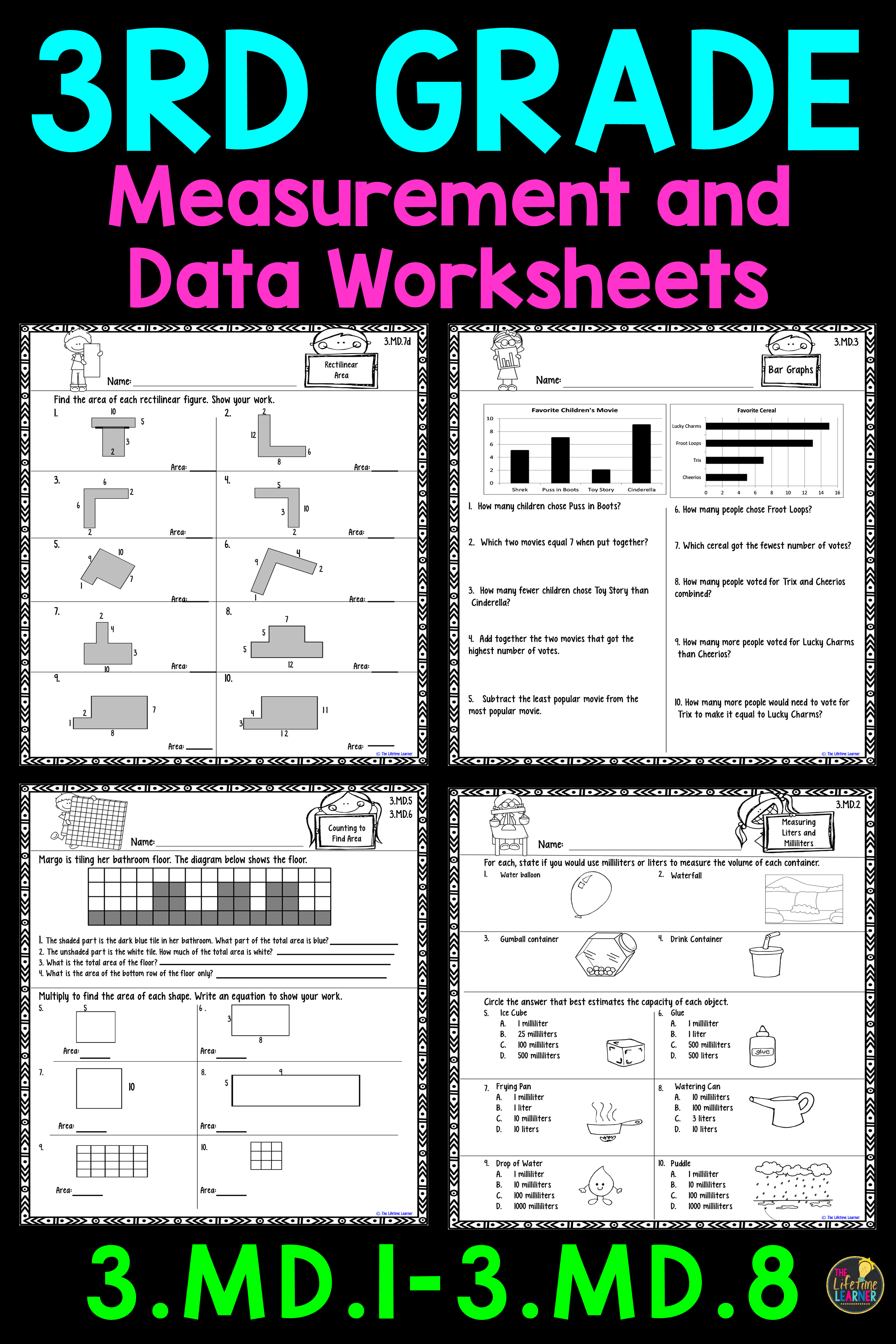 These measurement and data worksheets are perfect for 3rd graders. They  align with common …   3rd grade math worksheets [ 3684 x 2456 Pixel ]