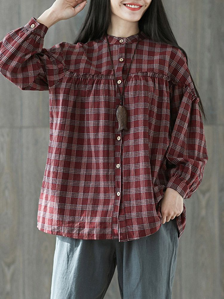 70f98a8451c712 Vintage Plaid Button Down Stand Collar Stitching Blouse #women #clothes  #trend #moda