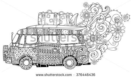Hand Drawn Doodle Outline Retro Bus Travel Decorated With Ornaments Vector Zentangle Illustration Floral Ornament Sketch How To Draw Hands Camper Art Retro Bus