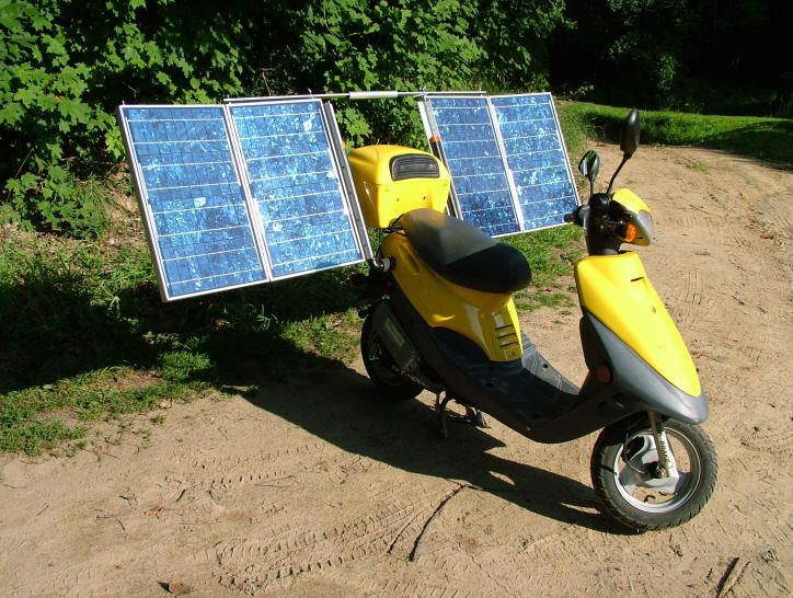 Solar Scooter Plans For A Street Legal Affordable And Dependable Solar Powered Scooter From Don Dunklee The Pv Panels Solar Power Diy Solar Solar Battery