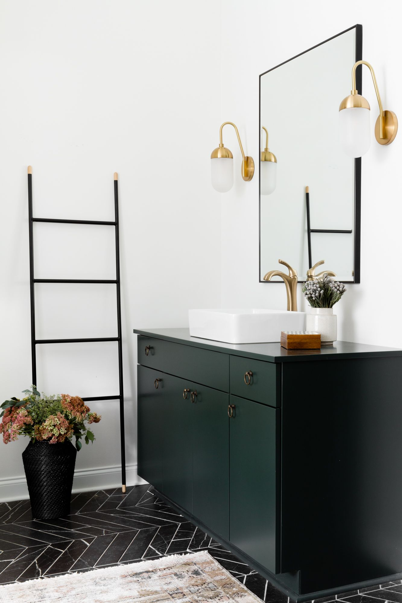 Modern Bathroom With Emerald Green Vanity Vintage Rug And Black And White Tile Photography Joseph Bradsh Dark Green Bathrooms Green Tile Bathroom Green Vanity [ 2000 x 1333 Pixel ]