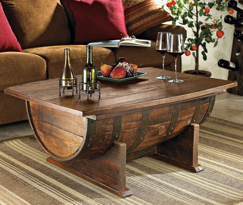 Recycled Wine Barrel Coffee Table With Storage