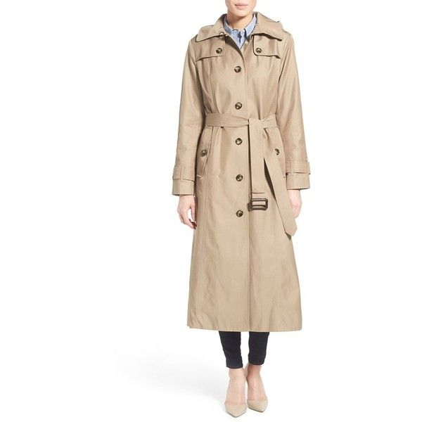 Fog London Long Trench Raincoat with Hood ($160) ❤ liked on Polyvore featuring outerwear, coats, khaki, rain trench coat, trench coat, single breasted trench coat, rain coat and trench raincoat
