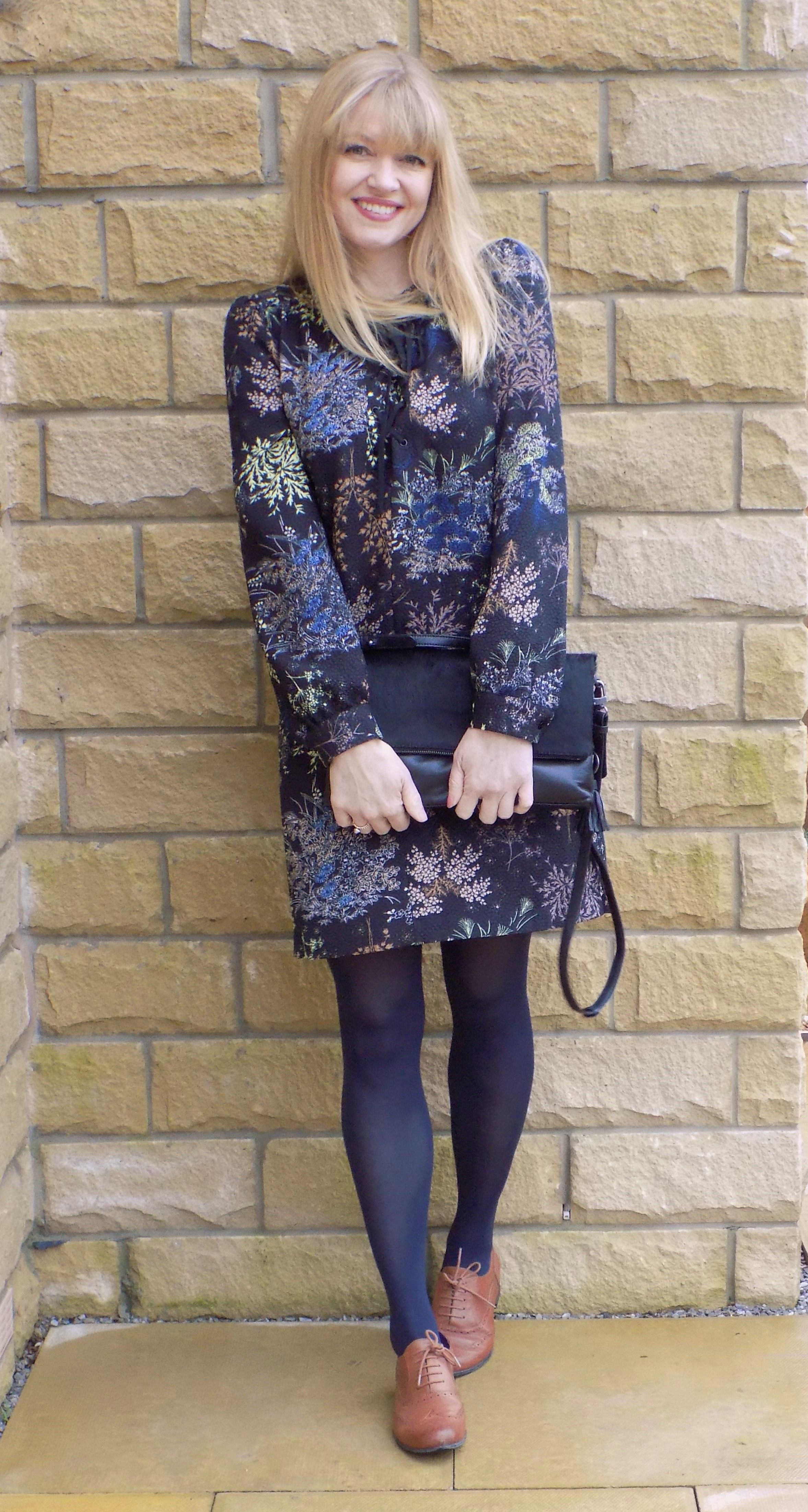 Fashion look from january 2016 featuring pink opaque tights round - Tan Leather Brogues With Opaque Tights And Floral Dress