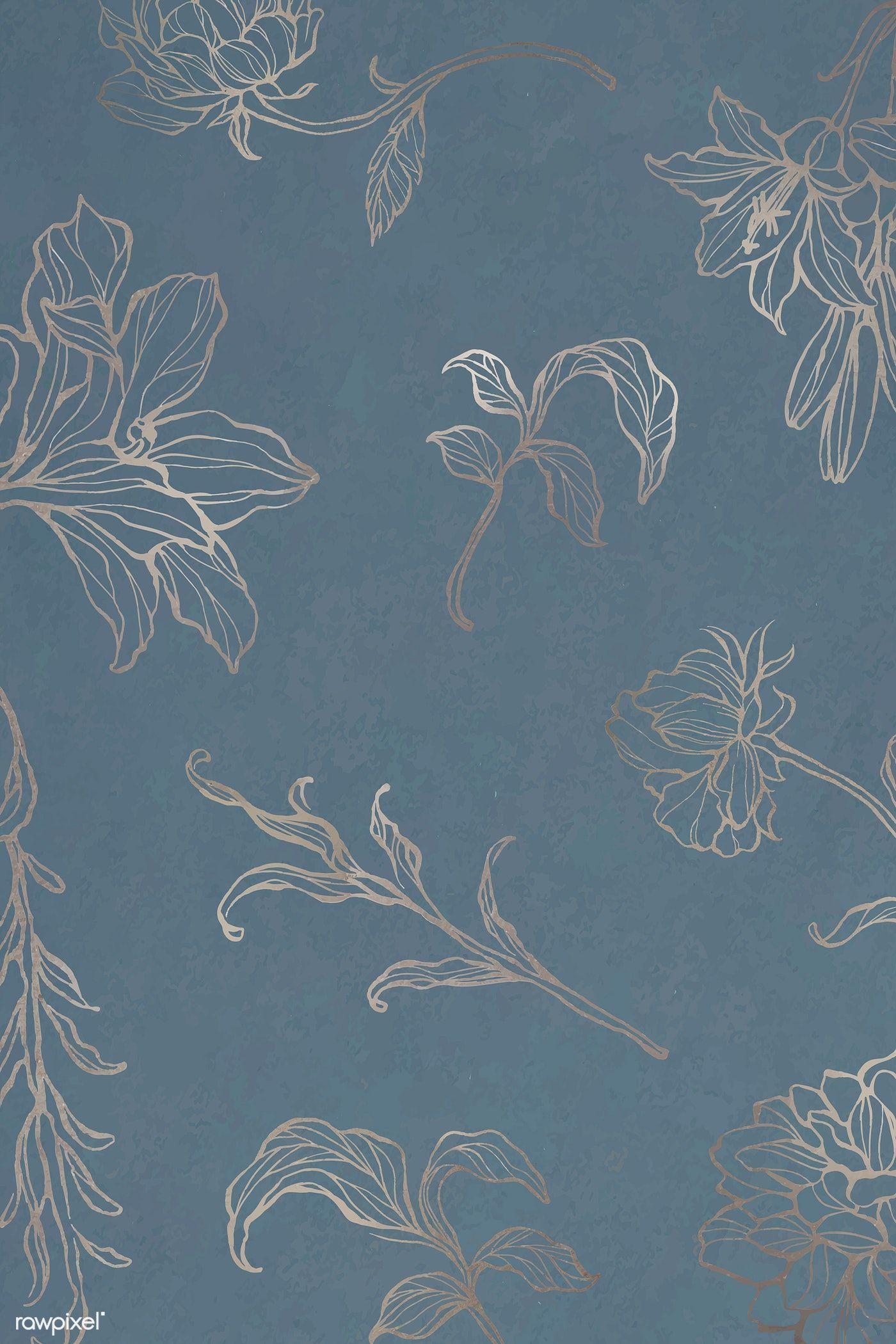 Download premium vector of Gold floral outline background