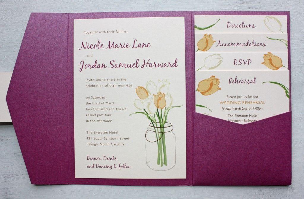 Sangria Purple And Peach Tulips In A Mason Jar Pocketfold Wedding Invitations