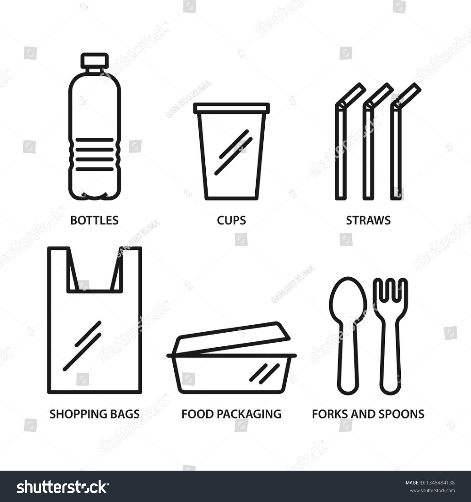Single Use Plastic Icons Set Bottle Cup Straws Bag Food Package Fork And Spoon Stroke Outline Style Vector Is Icon Set Forks And Spoons Food Packaging