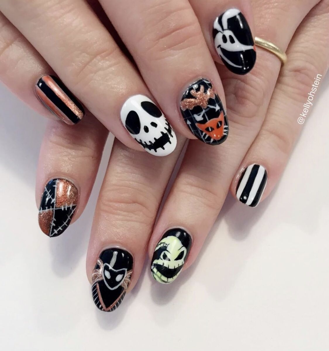 Halloween nails, hand painted with Nightmare Before ...